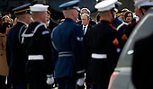 Former President George W. Bush watches as the flag-draped casket of former President George H.W. Bush is carried by a joint services military honor guard to Special Air Mission 41, Wednesday, Dec. 5, 2018, at Andrews Air Force Base, Md.<br /> Credit: Alex Brandon / Pool via CNP
