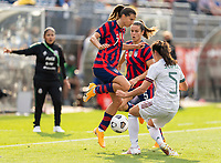 EAST HARTFORD, CT - JULY 5: Tobin Heath #7 of the USWNT collides with Jimena Lopez #5 of Mexico during a game between Mexico and USWNT at Rentschler Field on July 5, 2021 in East Hartford, Connecticut.