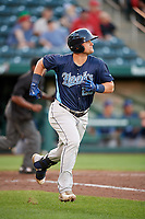 Corpus Christi Hooks third baseman J.D. Davis (26) runs to first base during a game against the Springfield Cardinals on May 30, 2017 at Hammons Field in Springfield, Missouri.  Springfield defeated Corpus Christi 4-3.  (Mike Janes/Four Seam Images)