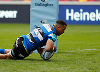 27th March 2021; Brentford Community Stadium, London, England; Gallagher Premiership Rugby, London Irish versus Bath; Anthony Watson of Bath goes over for a try
