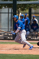Chicago Cubs first baseman Cam Balego (9) starts down the first base line during an Extended Spring Training game against the Colorado Rockies at Sloan Park on April 17, 2018 in Mesa, Arizona. (Zachary Lucy/Four Seam Images)