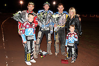 Winner Darcy Ward, Runner-Up Lewis Bridger and 3rd placed Andreas Jonsson with Emma Richardson and 2 of her children - Lee Richardson Memorial at the Arena Essex Raceway, Pufleet - 28/09/12 - MANDATORY CREDIT: Rob Newell/TGSPHOTO - Self billing applies where appropriate - 0845 094 6026 - contact@tgsphoto.co.uk - NO UNPAID USE.