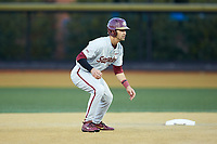 Steven Wells Jr. (7) of the Florida State Seminoles takes his lead off of second base against the Wake Forest Demon Deacons at David F. Couch Ballpark on March 9, 2018 in  Winston-Salem, North Carolina.  The Seminoles defeated the Demon Deacons 7-3.  (Brian Westerholt/Four Seam Images)