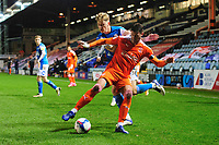 Blackpool's Gary Madine vies for possession with Peterborough United's Frankie Kent<br /> <br /> Photographer Chris Vaughan/CameraSport<br /> <br /> The EFL Sky Bet League One - Peterborough United v Blackpool - Saturday 21st November 2020 - London Road Stadium - Peterborough<br /> <br /> World Copyright © 2020 CameraSport. All rights reserved. 43 Linden Ave. Countesthorpe. Leicester. England. LE8 5PG - Tel: +44 (0) 116 277 4147 - admin@camerasport.com - www.camerasport.com