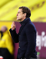 17th February 2021; Turf Moor, Burnley, Lanchashire, England; English Premier League Football, Burnley versus Fulham; Fulham manager Scott Parker reacts as he follows the action from the touchline
