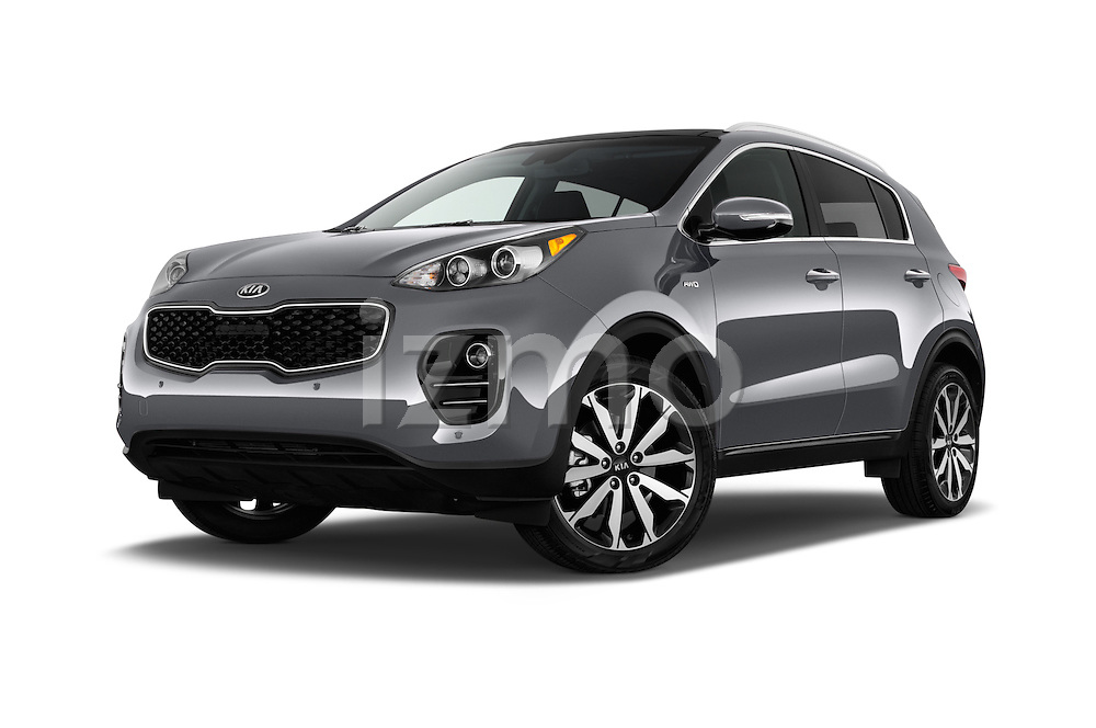 Stock pictures of low aggressive front three quarter view of 2017 KIA Sportage 2.4-EX-AT-AWD 5 Door SUV Low Aggressive