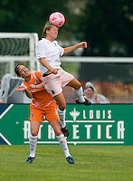 St. Louis Athletica Elise Weber (12) goes up for a ball against Sky Blue FC midfielder Collette McCallum (14) during a WPS match at Anheuser-Busch Soccer Park, in St. Louis, MO, June 7 2009.  Athletica won the match 1-0.