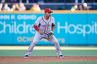 Syracuse Chiefs second baseman Adrian Sanchez (7) during a game against the Buffalo Bisons on July 6, 2018 at Coca-Cola Field in Buffalo, New York.  Buffalo defeated Syracuse 6-4.  (Mike Janes/Four Seam Images)