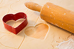 Heart shaped pastry cutter and rolling pin