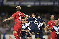 MELBOURNE, AUSTRALIA - OCTOBER 30: Iain Fyfe of United heads the ball into goal during the round 12 A-League match between the Melbourne Victory and Adelaide United at Etihad Stadium on October 30, 2010 in Melbourne, Australia.  (Photo by Sydney Low / Asterisk Images)