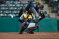 West Virginia Mountaineers catcher Paul McIntosh (34) warms up his pitcher between innings of the game against the Illinois Fighting Illini at TicketReturn.com Field at Pelicans Ballpark on February 23, 2020 in Myrtle Beach, South Carolina. The Fighting Illini defeated the Mountaineers 2-1.  (Brian Westerholt/Four Seam Images)