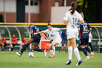 TACOMA, WA - JULY 31: Savannah McCaskill #7 of Racing Louisville FC battles for the ball during a game between Racing Louisville FC and OL Reign at Cheney Stadium on July 31, 2021 in Tacoma, Washington.
