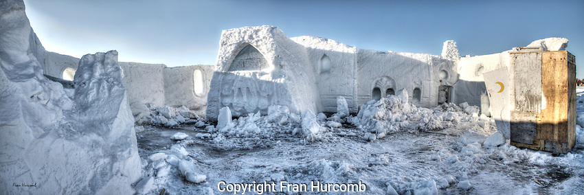 Snowy ruins of the Snowking Castle in Yellowknife. It is starting to melt.