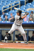 Dayton Dragons first baseman Sammy Diaz (5) at bat during a game against the Lake County Captains on June 8, 2014 at Classic Park in Eastlake, Ohio.  Lake County defeated Dayton 4-2.  (Mike Janes/Four Seam Images)