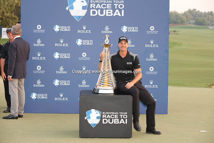 Henrik Stenson, IMG, Hugo Boss, Schuco, BMW, Delwood, FootJoy, Marquis Jet, Mutual of Omaha, Rolex, Taylor Made is the 2016 Race to Dubai Champion. The season ending event was played over the Earth Course at Jumeirah Golf Estates, Dubai, UAE: Picture Stuart Adams, www.golftourimages.com: 1/1/00