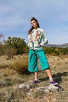 MADRID, SPAIN - OCTOBER 17:  Dresses2Kill Blossom AW2021 Collection on October 17, 2020 in Madrid, Spain. <br /> Model: Lucía Luengo<br /> MUAH: Rosalba López Jara<br /> Estilismo: Dresses2Kill<br /> Photo by Juan Naharro