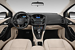 Stock photo of straight dashboard view of 2018 Ford Focus SE 5 Door Hatchback Dashboard