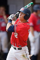 Alex Yarbrough #2 of the Ole Miss Rebels follows through on his swing against the St. John's Red Storm at the Charlottesville Regional of the 2010 College World Series at Davenport Field on June 6, 2010, in Charlottesville, Virginia.  The Red Storm defeated the Rebels 20-16.  Photo by Brian Westerholt / Four Seam Images