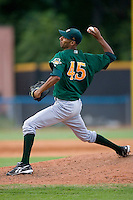 Relief pitcher Ronald Uviedo #45 of the Lynchburg Hillcats in action versus the Winston-Salem Dash at Wake Forest Baseball Stadium August 30, 2009 in Winston-Salem, North Carolina. (Photo by Brian Westerholt / Four Seam Images)