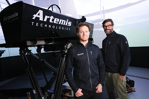 Artemis Technologies has unveiled the world's most advanced marine simulator at its base in Northern Ireland. Pictured, from left, Philip Crain, Real-Time Simulation Manager and Dr Iain Percy OBE, CEO