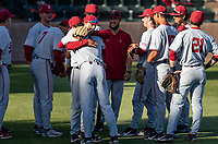 STANFORD, CA - JUNE 7: Team meeting before a game between UC Irvine and Stanford Baseball at Sunken Diamond on June 7, 2021 in Stanford, California.
