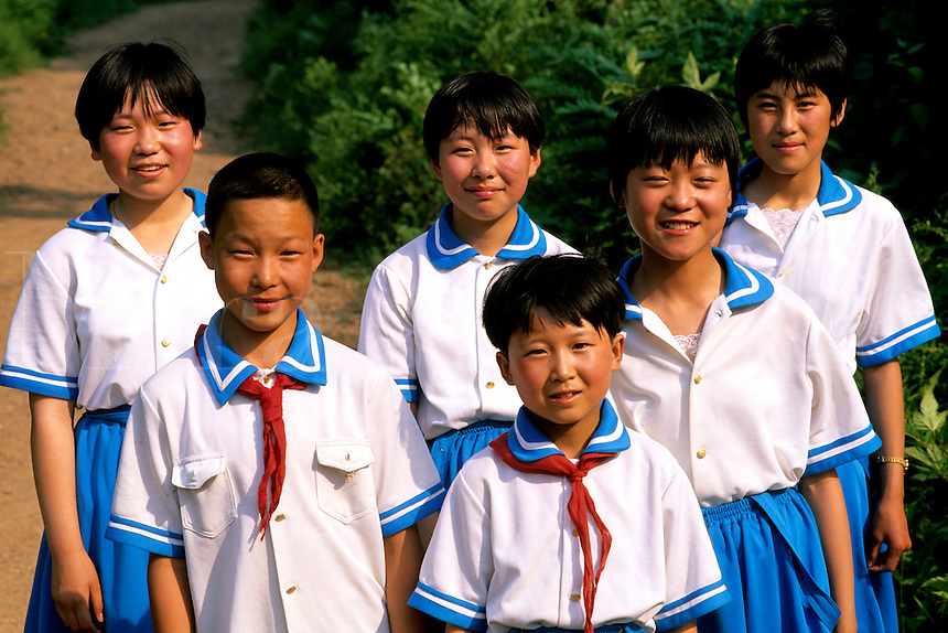 Colorful portrait of schoolchildren of various ages in Beijing China