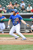 Tennessee Smokies third baseman Jesse Hodges (24) swings at a pitch during a game against the Birmingham Barons at Smokies Stadium on May 6, 2018 in Kodak, Tennessee. The Smokies defeated the Barons 6-2. (Tony Farlow/Four Seam Images)