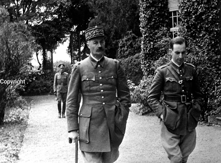 The captured French General Giraud, during his daily walk.  Germany, ca. 1940-41.  (Office of Alien Property)<br /> Exact Date Shot Unknown<br /> NARA FILE #:  131-NO-29-16<br /> WAR & CONFLICT BOOK #:  1276