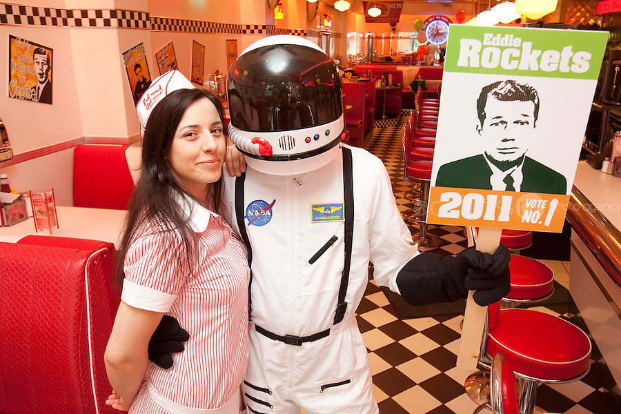 NO REPRO FEE.27/9/2011. EDDIE ROCKET FOR PRESIDENT. Pictured at the restaurant on South Anne St. Dublin with waitress Szilvia Szendrei Eddie Rocket, one of Ireland's leading restaurateurs, has thrown his helmet into the Presidential race.Eddie, who runs a group of 41 City Diners employing over 1,000 people around Ireland and abroad, believes he is the man for the Aras.Get the full lowdown on Eddie's campaign on www.eddierockets.ie/eddieforpresident Picture James Horan/Collins Photos