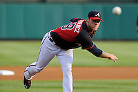 Starting pitcher Mike Foltynewicz (48) of the Atlanta Braves delivers a warm up pitch before a Spring Training game against the New York Yankees on Wednesday, March 18, 2015, at Champion Stadium at the ESPN Wide World of Sports Complex in Lake Buena Vista, Florida. The Yankees won, 12-5. (Tom Priddy/Four Seam Images)