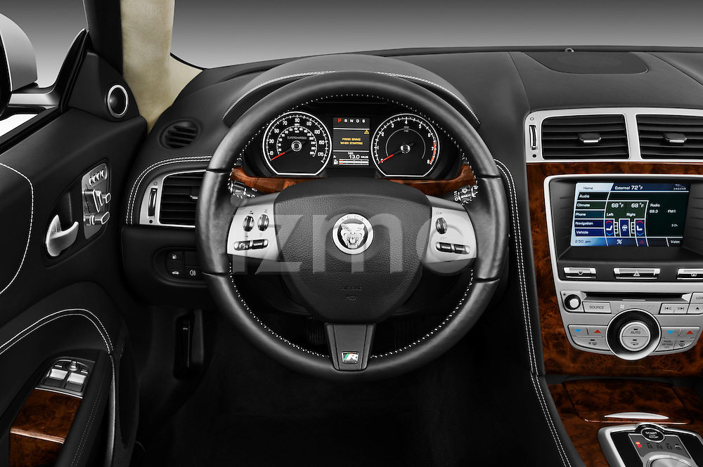 Steering wheel view of a 2011 Jaguar XKR Convertible