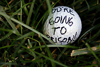 A golf ball left by a protester is seen outside the Trump National Golf Club Washington DC in Sterling, Virginia while United States President Donald J. Trump plays golf on June 21, 2020. <br /> Credit: Yuri Gripas / Pool via CNP/AdMedia