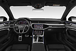 Stock photo of straight dashboard view of a 2019 Audi A6 Avant Sport 5 Door Wagon