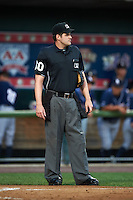 Umpire John Bacon during a game between the New Hampshire Fisher Cats and Harrisburg Senators on July 21, 2015 at Metro Bank Park in Harrisburg, Pennsylvania.  New Hampshire defeated Harrisburg 7-1.  (Mike Janes/Four Seam Images)