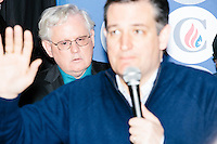 NH State Representatives Gary S. Hopper (R-Weare-Deering) (glasses) looks on as Texas senator and Republican presidential candidate Ted Cruz speaks at The Village Trestle restaurant in Goffstown, New Hampshire, on Wed., Feb. 3, 2016.
