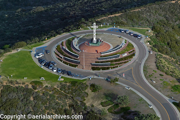 aerial photograph of Mount Soledad Easter Cross, La Jolla, California