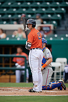 Lakeland Flying Tigers first baseman Will Allen (15) at bat during the second game of a doubleheader against the St. Lucie Mets on June 10, 2017 at Joker Marchant Stadium in Lakeland, Florida.  Lakeland defeated St. Lucie 9-1.  (Mike Janes/Four Seam Images)