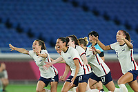 YOKOHAMA, JAPAN - JULY 30: Players of the United States celebrate their victory and entry into the Olympics semifinal during a game between Netherlands and USWNT at International Stadium Yokohama on July 30, 2021 in Yokohama, Japan.