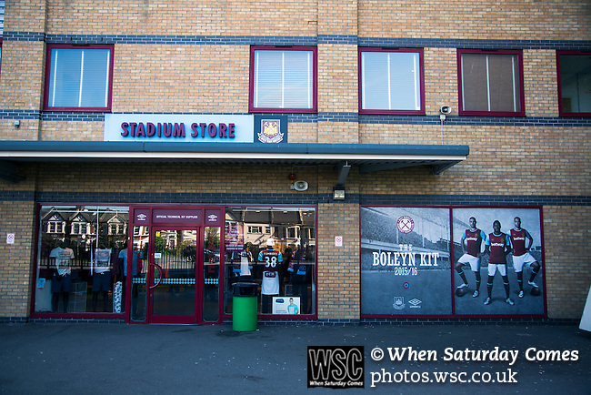 West Ham United 2 Crystal Palace 2, 02/04/2016. Boleyn Ground, Premier League. The stadium store under the Betway Stand at the Boleyn Ground before West Ham United hosted Crystal Palace in a Barclays Premier League match. The Boleyn Ground at Upton Park was the club's home ground from 1904 until the end of the 2015-16 season when they moved into the Olympic Stadium, built for the 2012 London games, at nearby Stratford. The match ended in a 2-2 draw, watched by a near-capacity crowd of 34,857. Photo by Colin McPherson.