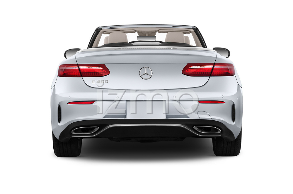 Straight rear view of a 2018 Mercedes Benz E Class Base 2 Door Convertible stock images