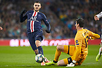Mauro Icardi of PSG  and Thibaut Courtois of Real Madrid