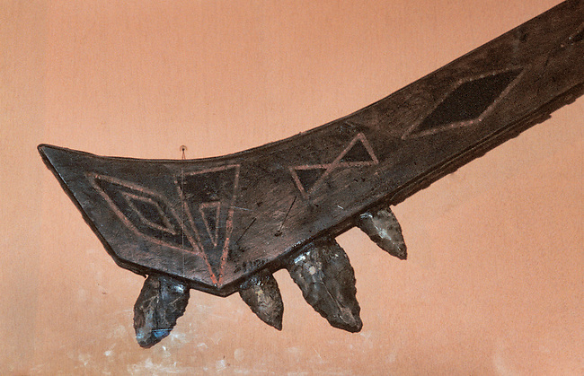 Lenni Lenape Delaware war club with the stalk made from wood embedded with sharp obsidian points. On display at the Poconos Indian Museum, PA