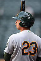 Oakland Athletics catcher Argenis Raga (23) during an Instructional League game against the Arizona Diamondbacks on October 10, 2014 at Chase Field in Phoenix, Arizona.  (Mike Janes/Four Seam Images)