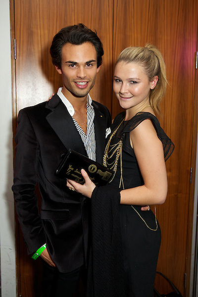 Mark-Francis and Amber Atherton from Made in Chelsea at The Take Heart Ball, Kensington Roof Gardens, London