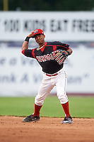 Batavia Muckdogs second baseman Giovanny Alfonzo (8) throws to first during a game against the Mahoning Valley Scrappers on June 22, 2015 at Dwyer Stadium in Batavia, New York.  Mahoning Valley defeated Batavia 15-11.  (Mike Janes/Four Seam Images)