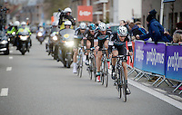 3 Etixx-Quickstep riders versus 1 Sky rider race to the finish; seems like the Ian Stannard (GBR/Sky) is fighting a lost cause... but last years winner (Stannard) is in superior shape today!<br /> Niki Terpstra (NLD/Etixx-QuickStep), Stijn Vandenbergh (BEL/Etixx-QuickStep) & Tom Boonen (BEL/Etixx-QuickStep) are no match for him today<br /> <br /> Omloop Het Nieuwsblad 2015