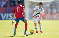 CARSON, CA - FEBRUARY 1: Brenden Aaronson #8 of the United States moves with the ball during a game between Costa Rica and USMNT at Dignity Health Sports Park on February 1, 2020 in Carson, California.