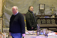 Pictured L-R: Trustee Simon Mundy and Anthony Plant of the Sidney Nolan Trust, in the artist's studio  Friday 02 December 2016<br /> The Sidney Nolan Trust, Rodd, Herefordshire, England, UK