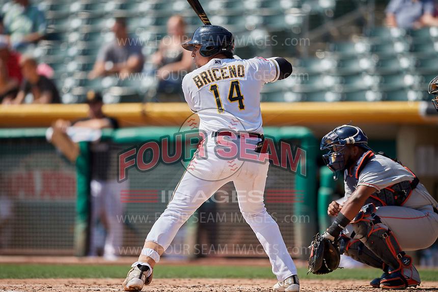 Jose Briceno (14) of the Salt Lake Bees bats against the Fresno Grizzlies at Smith's Ballpark on September 4, 2017 in Salt Lake City, Utah. Fresno defeated Salt Lake 9-7. (Stephen Smith/Four Seam Images)