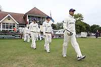 Skipper James Foster leads the Essex team out after lunch - Essex CCC vs Gloucestershire CCC - LV County Championship Division Two Cricket at Castle Park, Colchester - 18/08/11 - MANDATORY CREDIT: Gavin Ellis/TGSPHOTO - Self billing applies where appropriate - Tel: 0845 094 6026